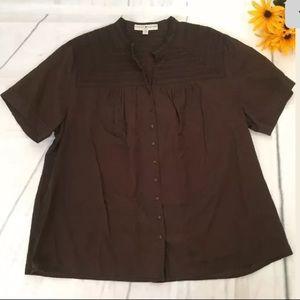 Tommy Hilfiger Short Sleeve Smocked Brown Sz20 (h)